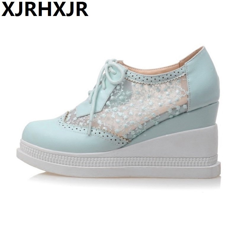 Brand 2017 Summer Lace Women Wedge Shoes Breathable Platform Thick Sole Wedges Heel White Pink Female