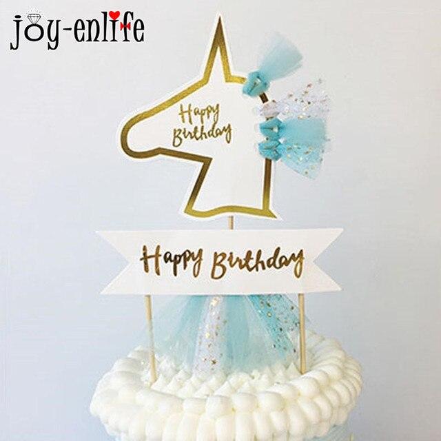 JOY ENLIFE 1pcs Unicorn Party Tulle Tassel Cake Topper Wedding Decor Kids Birthday Baby Shower Decoration Supplies