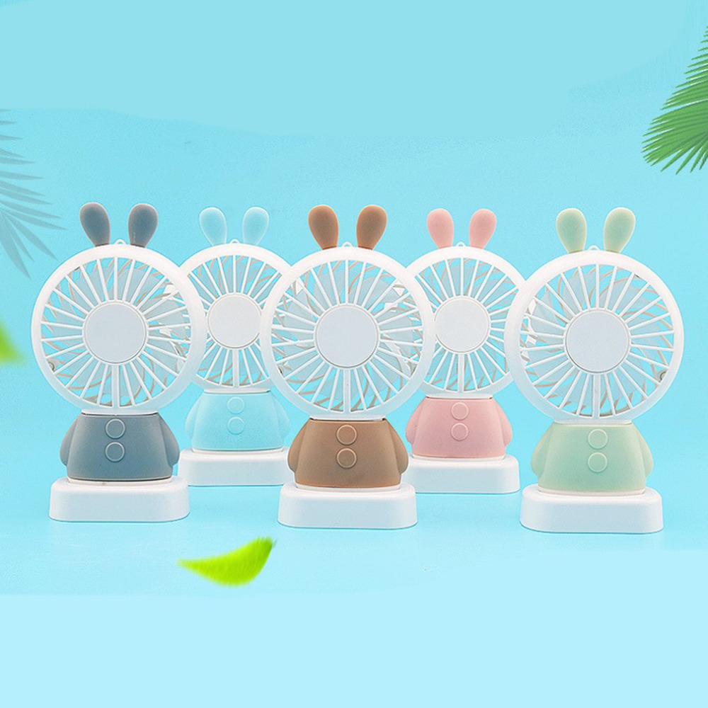 Home Mini USB Charging Fan Office Handheld Rabbit Fan With Desk Base Rechargeable Air Conditioner For Student handheld cartoon mini fan usb portable fan for home outdoor desk rechargeable air conditioner with 1200ma rechargeable battery