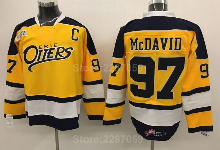 d891346ed NHL Edmonton Oilers 97 Connor McDavid Yellow College Erie Otters Premier  OHL With COA Ice Hockey