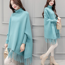 Autumn New Knitting Cloak High Collar Long Fashion Bat Sleeve Tassel Sweater Shawl Female Pregnant Women