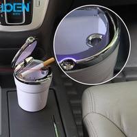 Hot Car Interiors Cigarette Ash Holder Durable Portable Car Ashtray Auto Home Office LED Lights Ashtray