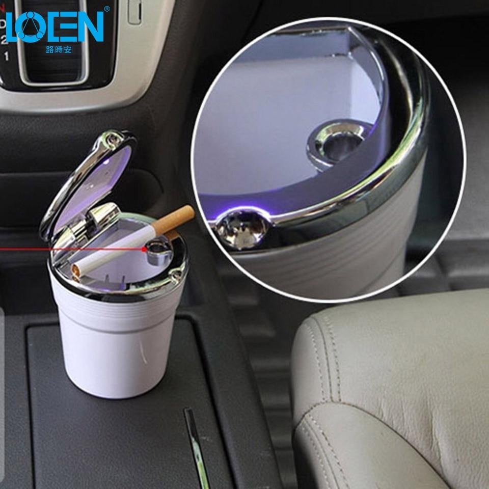 1PC Hot Durable Portable Car <font><b>Interiors</b></font> Ash cup Holder for Cigarette storage Auto/Home/Office LED Lights car Ashtray black white