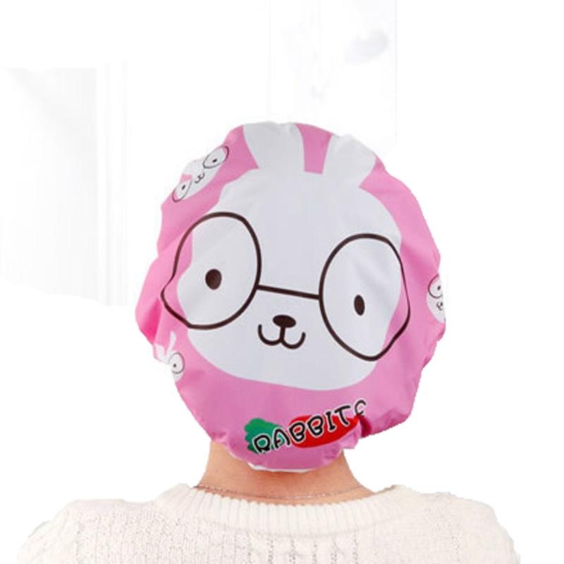 1PCS Pink Cute Cartoon Bathing Shower Cap Women Waterproof Bath Cap Shampoo Cap Goods For Bathroom Accessories Badkamer. Pink Bath Accessories Promotion Shop for Promotional Pink Bath