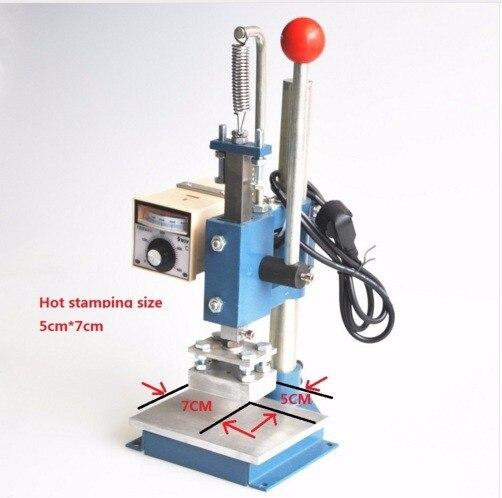 Best Quality 5X7CM Manual Hot Foil Stamping Machine Leather Printer Creasing Machine Marking Press Embossing Machine