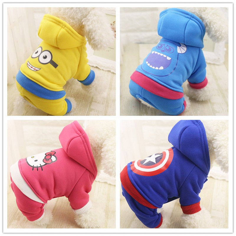 2018 New Pet Clothing Winter Dog Clothes For Cats Small Dogs Jumpsuit Pants Cartoon Dog Coats Warm Pets Dogs Costume Apparel