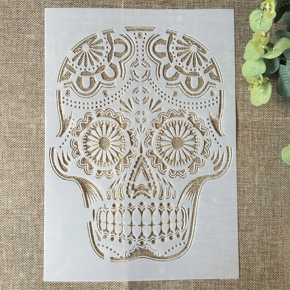29*21cm Retro Skull Thin DIY Layering Stencils Wall Painting Scrapbook Coloring Embossing Album Decorative Paper Card Template
