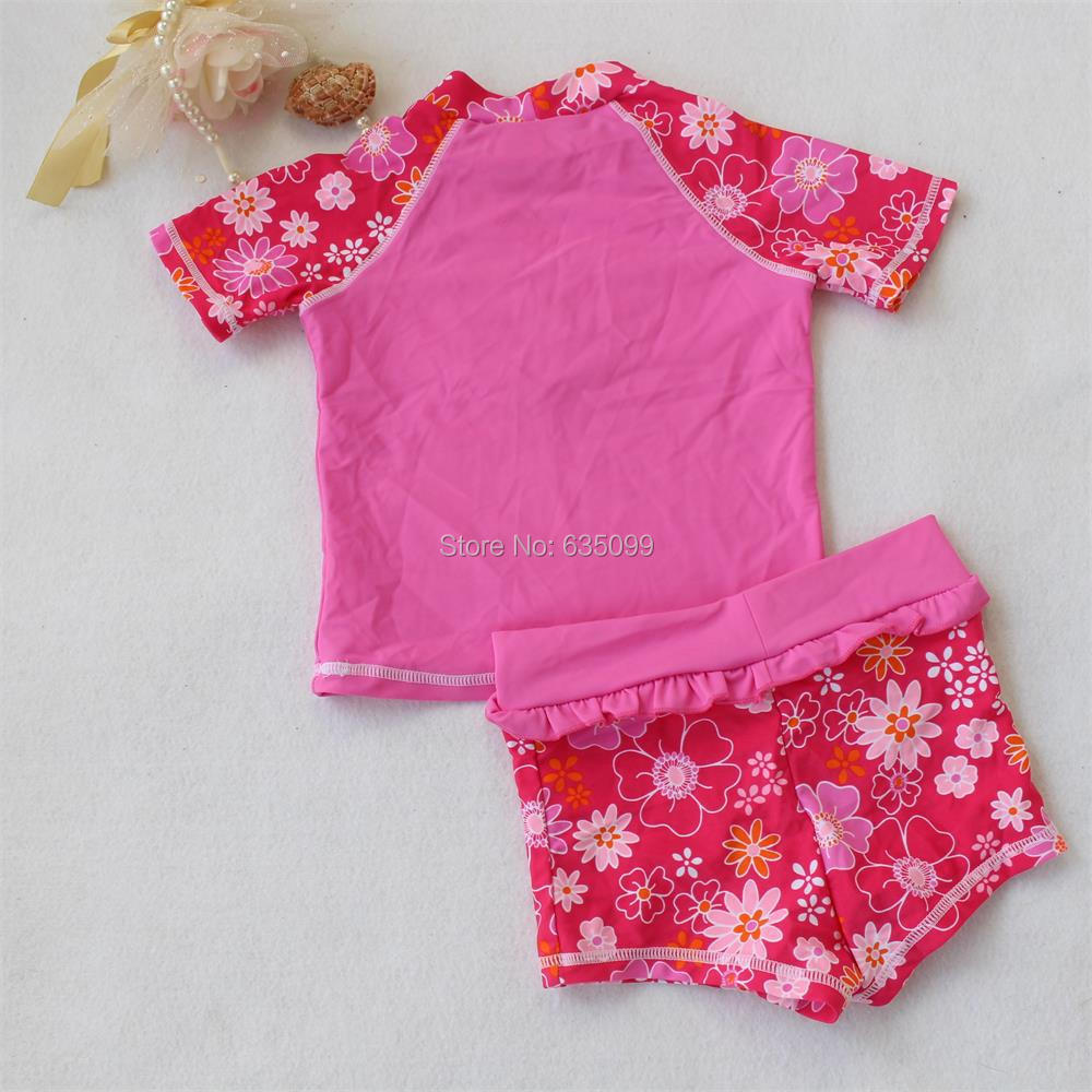 9049394bf3062 New Baby Girls Brand Rush Guards set Girls Sunsafe Two Pieces Pink Swimsuit  Kids Surfing Cloth Swimwear bathing suit Beach wear-in Two-Piece Separates  from ...