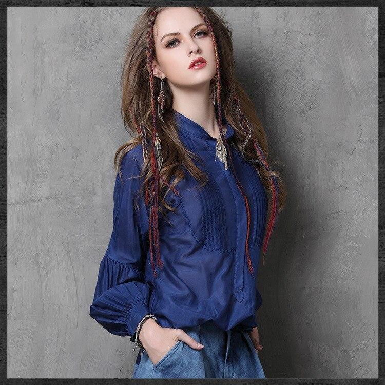 Haut de gamme femmes automne plissé Blouses 2017 à manches longues lanterne chemise en soie Blouse nouveau rétro lâche col montant femmes chemises