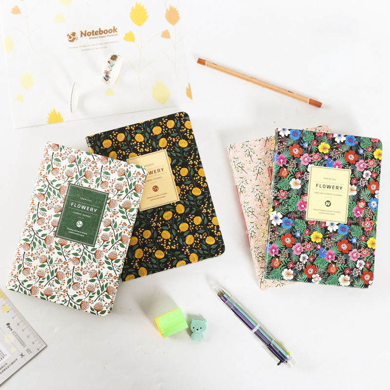 Fromthenon Cute PU Leather Floral Flower Notebook Personal Diary Schedule Book Weekly Planner School Office Supplies Stationery fromthenon cute pu leather notebook cover kawaii cat a5a6 spiral planner personal diary weekly monthly daily journal stationery