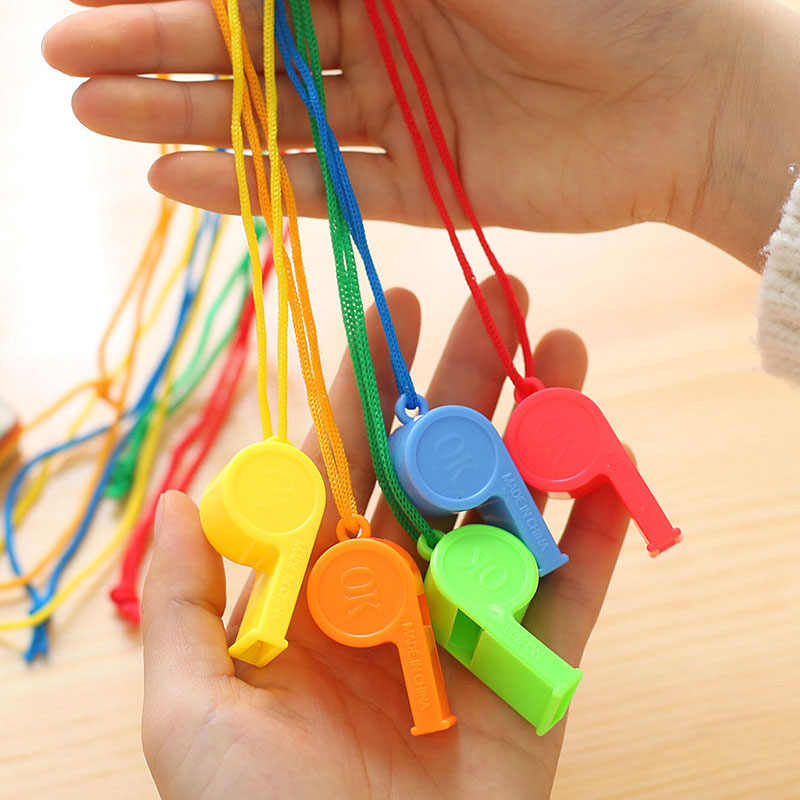 random colour plastic referees sports teachers 1 x Whistle on cord keyring