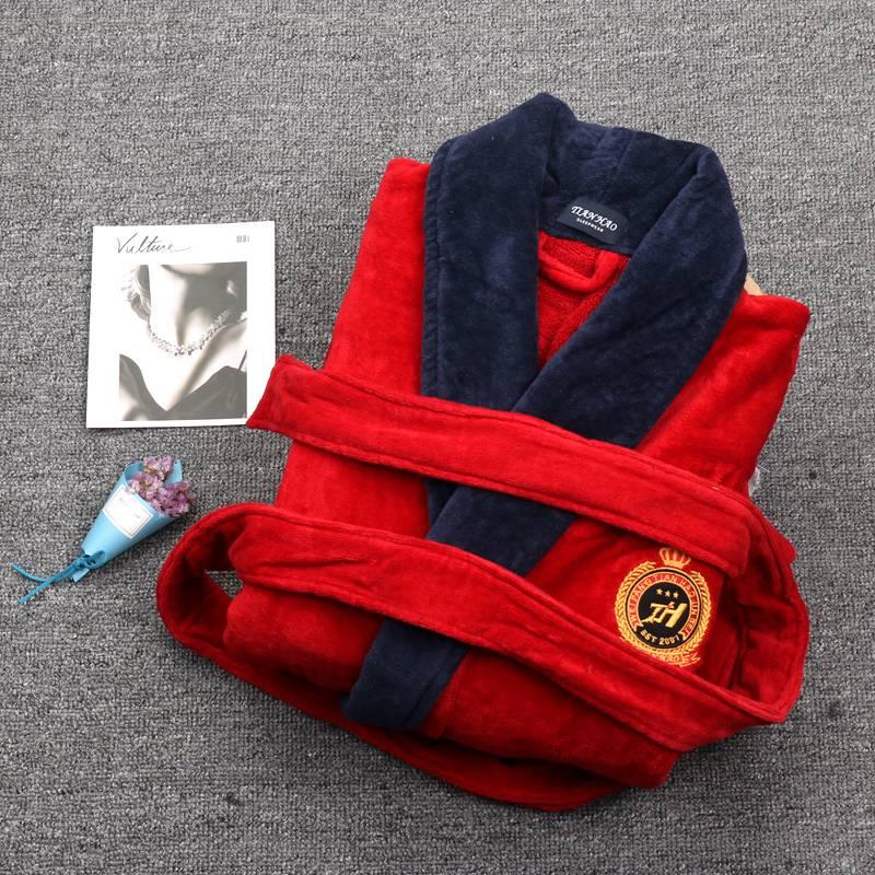 Winter Men Luxury Bathrobe Thicken Plus Size XXXL Long Sleeve Sleepwear Towel Fleece Mens Bathrobe Kimono Hommes Bath Robes