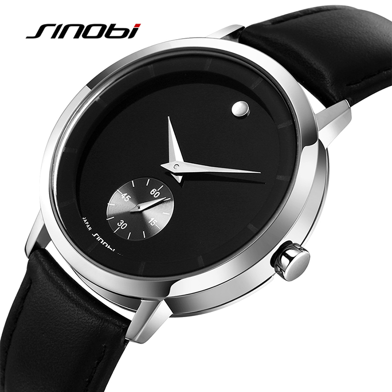 SINOBI Fashion Men's Wrist Watches 5Bar Waterproof Leather Watchband Luxury Brand Males Geneva Quartz Clock Montres Hommes 2017 sinobi double quartz wristwatch for leather watchband men s golden fashion wrist watch brand males clock relojes hombre 2016 new