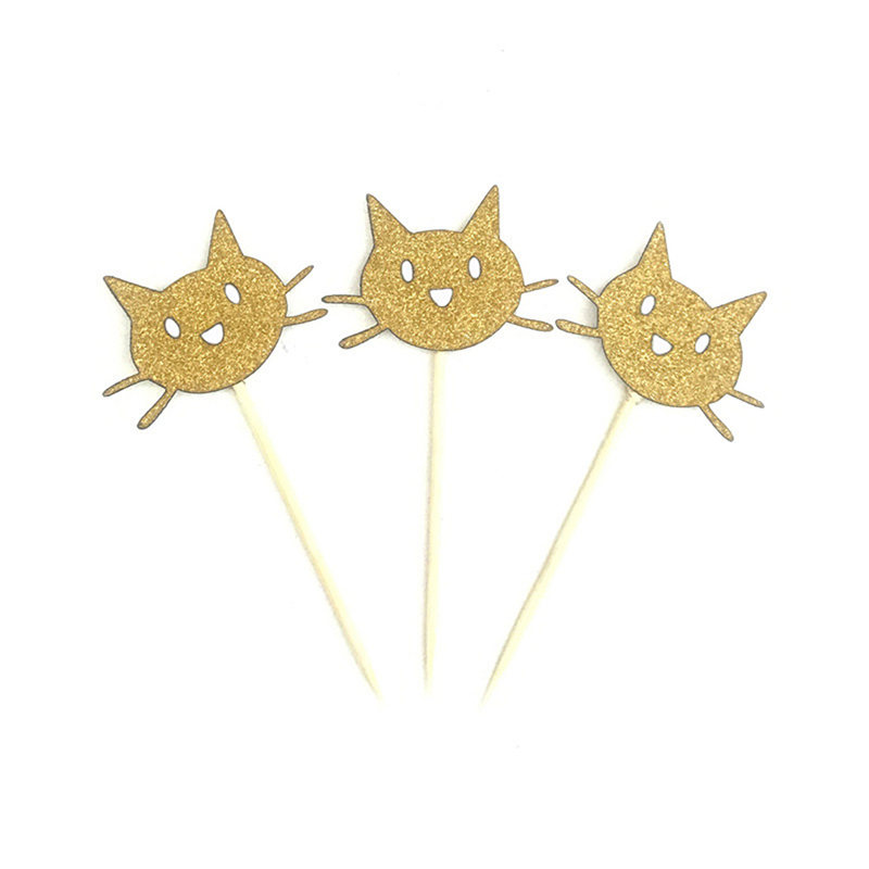 12PCS <font><b>Cat</b></font> Cupcake <font><b>Toppers</b></font> Pick Wedding Children Birthday Party Decoration Cute Animal <font><b>Cat</b></font> <font><b>Cake</b></font> <font><b>Topper</b></font> Sliver Gold Pink <font><b>Black</b></font> image