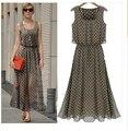 Женщины Платья Летние Стиль Шифон Maxi Dress Плюс Размер Пляж Dress Vintage Горошек Бак Дамы Одежда Халат Ete C76