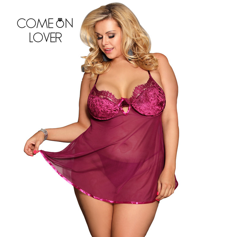 Comeonlover <font><b>Sexy</b></font> Night Dress Strap <font><b>Sexy</b></font> Valentine <font><b>Babydoll</b></font> <font><b>Mujer</b></font> <font><b>Sexy</b></font> Transparent Rose Red Lingerie Big Sizes Robe RE80602P image