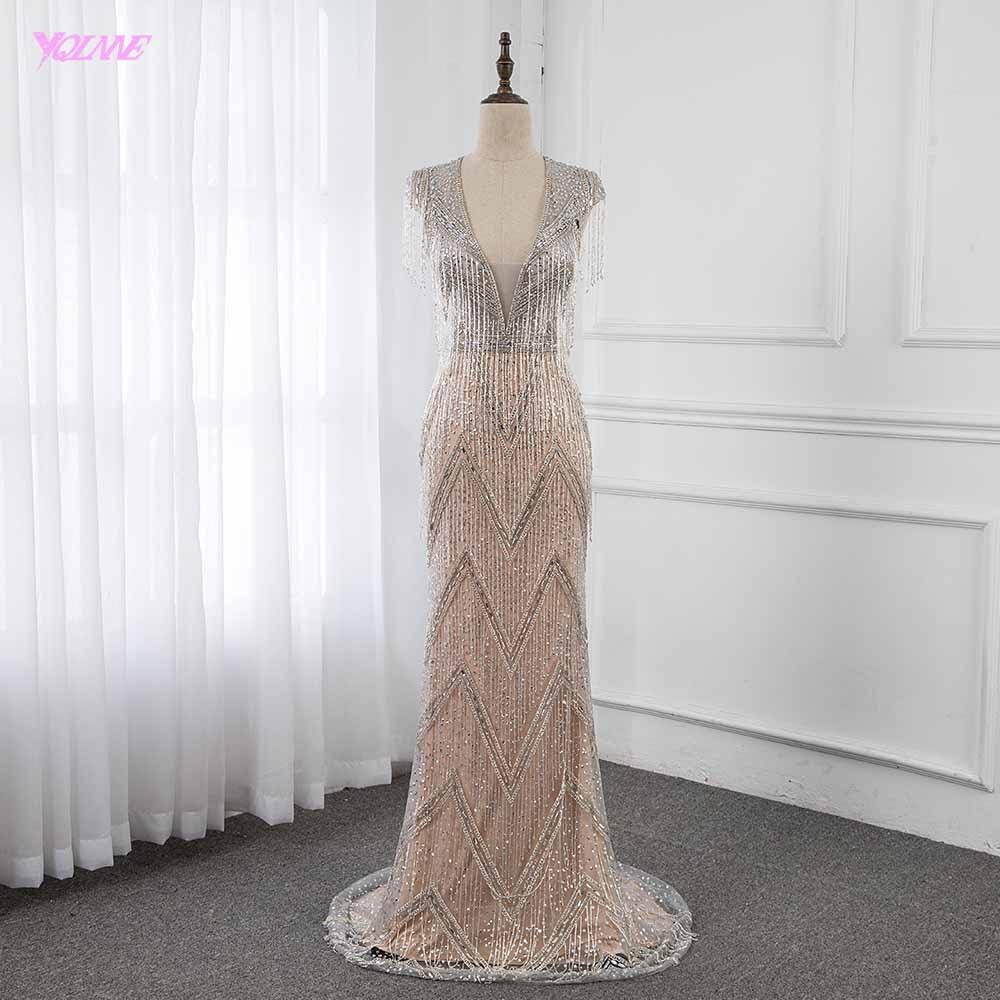 YQLNNE Luxury Robe De Soiree 2019 Silver Rhinestones Evening Dresses Long Deep V Neck Pendant Mermaid