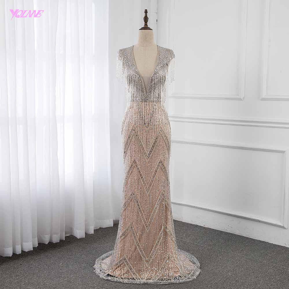 YQLNNE Luxury Robe De Soiree 2019 Silver Rhinestones Evening Dresses Long Deep V Neck Pendant Mermaid Formal Evening Gown