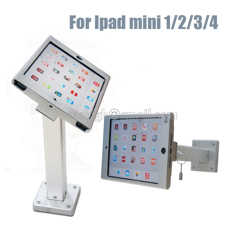 Metallic security wall mounted ipad display stand secure tablet table mount enclosure case lock anti-theft for Ipad mini 1 2 3 4 wall mount table stand