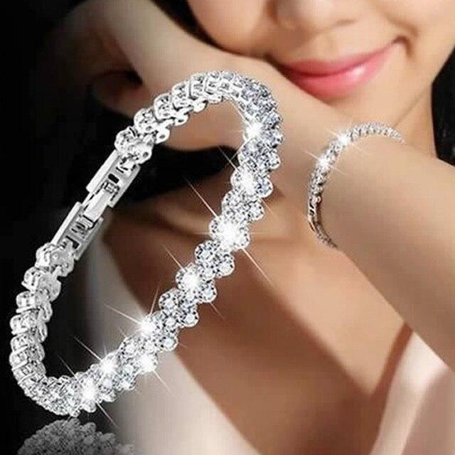 יוקרה בציר צמיד קריסטל צמידים לנשים קסם כסף צמידים & צמידי Femme כלה חתונה תכשיטי מתנה