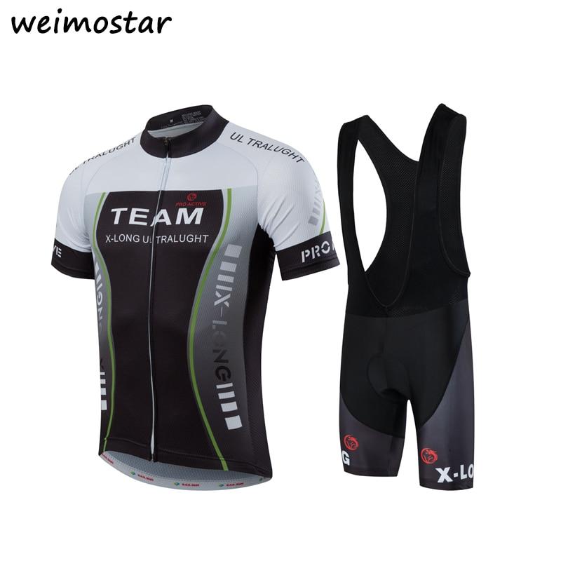 2017 Mens Black Gray New Pro Cycling jersey set Maillot Roupa Ropa De Ciclismo Cycling bib shorts Mtb Bicycle Clothing