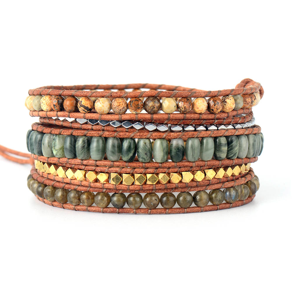 dd091b56b1203 Women Bangle Bracelets Natural Stone Gold Silver Color Beads 5 Layers  Leather Rope Bracelets Exclusive Bohemia