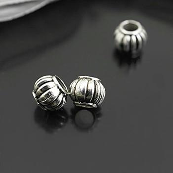 (26970)50PCS 8x6MM,hole:4MM Antique Silver Zinc Alloy Lantern Large Hole Spacer Beads Bracelet Beads Jewelry Accessories
