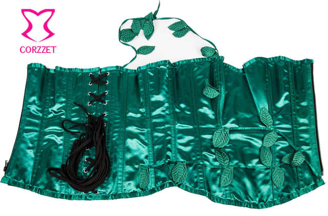 7d24e078ff7 Burlesque Green Satin Christmas Rave Corset Dress Victorian Bustier With  Tutu Skirt Set Sexy Corsets ang