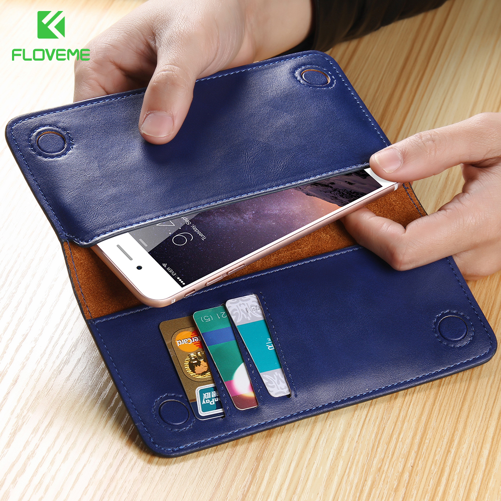 FLOVEME Wallet Mobile Phone Case Card Slot For iPhone 6 6S Plus 7 5 5S SE