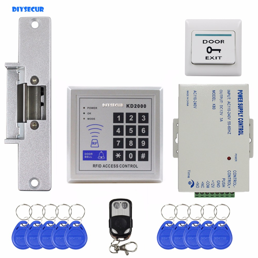 DIYSECUR Remote Controll ID Card Reader Password Keypad Access Control Security System Kit + Strike Lock KD2000