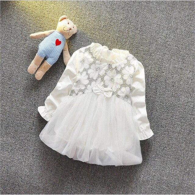 Newborn Princess Dresses 2017 Autumn Long Sleeve Crochet Dress Baby