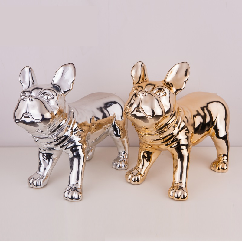 Glossy Gold And Silver French Bulldog Dog Mannequin Sale For Pet Shop Display