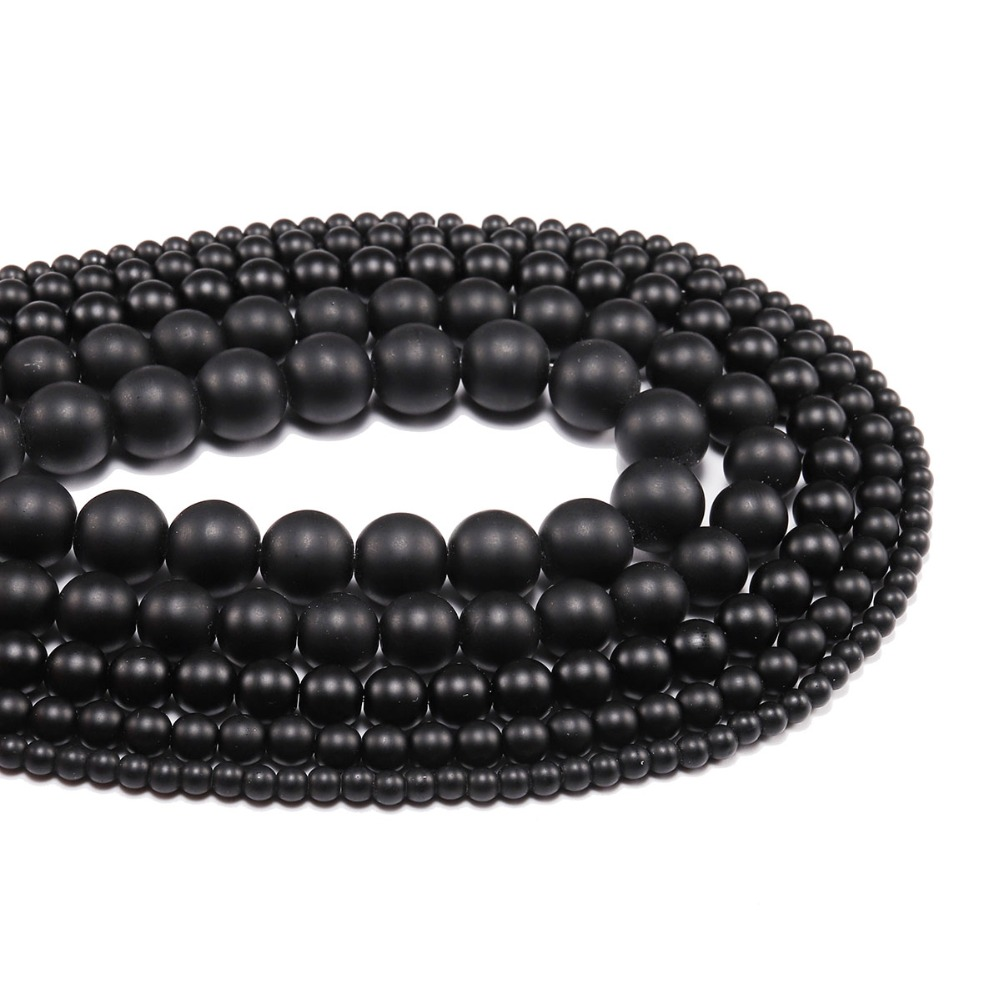 1 strand/lot <font><b>4</b></font> <font><b>6</b></font> 8 10 <font><b>12</b></font> 14mm Beads Black Round Dull Polish Matte Glass Beads Loose Spacer Bead For DIY Jewelry Making Wholesale image