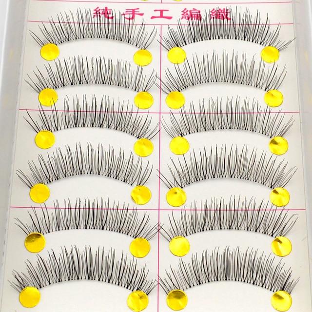10 Pares de Maquiagem Handmade Natural Cílios Postiços Macio Chicote Do Olho Cosméticos