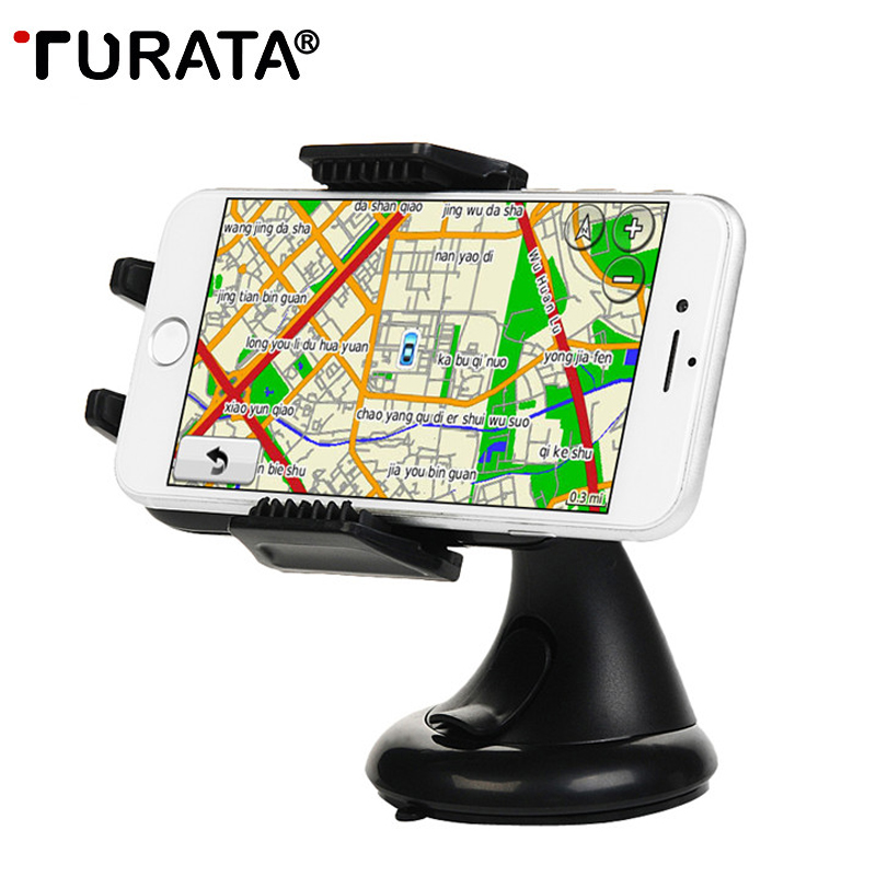 TURATA 360 Rotate One Touch Sucker Car Phone Holder Dashboard Windshield Suction Cup Phone Stand For iPhone 7 6S Samsung Xiaomi