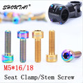 6pcs M5*16/18MM Titanium Bolt Stigma Head Bicycle Handle Stem Bolts Screws Mountain Bike Ultralight Seat Clamps Screws Bike Part