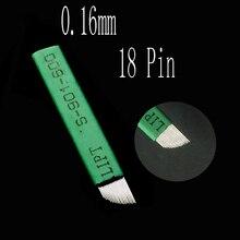200 pçs microblading agulhas 0.16mm 18 lamina tebori 18 pinos para maquiagem permanente tatuagem lâmina sobrancelha manual caneta 3d bordado