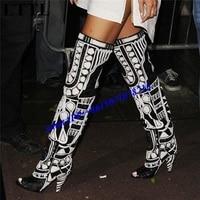 Rihanna черный, белый цвет с открытым носком летние мотоциклетные Для женщин Сапоги выше сандалии гладиаторы по колено сапоги шпильке обувь на