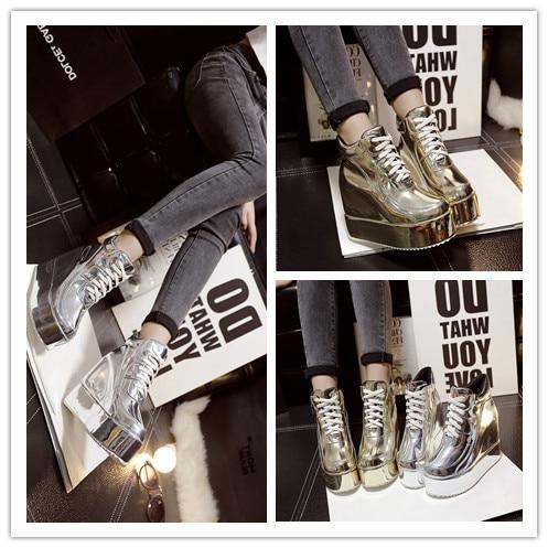 Automne Chaussures Décontractées Goldern Plate High Swyivy argent Une forme Hamac Femme Wedge Or Sneakers Top 2018 Haute Personne Augmenté ZRRW8P0v