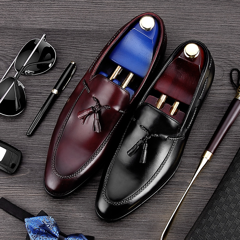 Top Quality Round Toe Tassels Man Casual Shoes Genuine Leather Comfortable Male Loafers Luxury Designer Men
