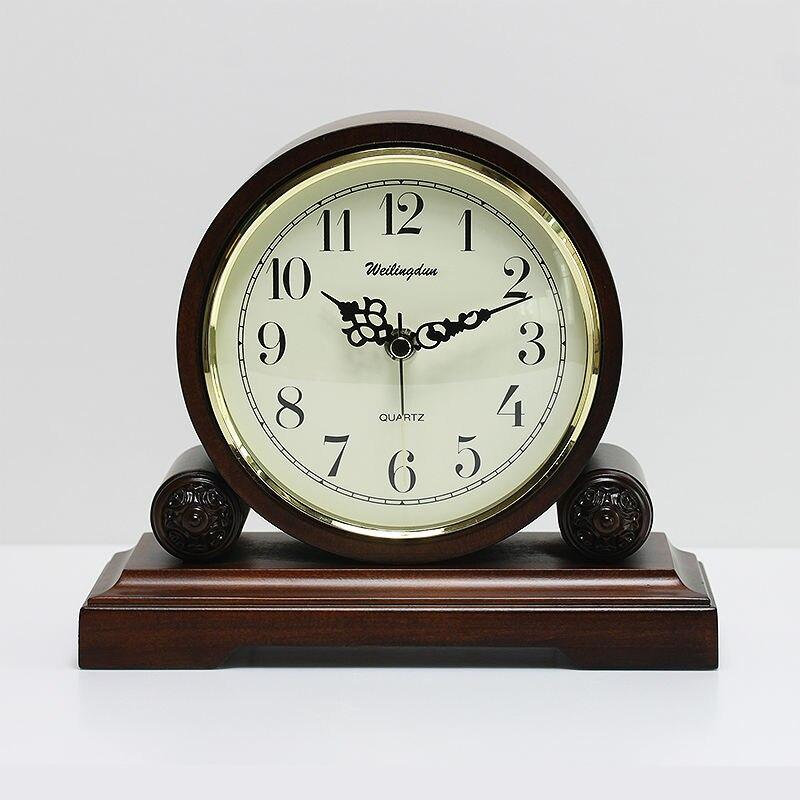 Weilingdun haute qualité en bois style européen Antique Super muet horloge à Quartz bureau horloge chambre salon Table horloge-in Horloges à poser from Maison & Animalerie    1