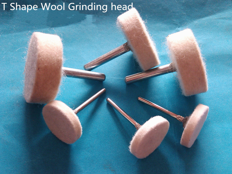6mm Shank T Shape Wool Felt Grinding Head Mounted Point Dremel Rotary Tool Accessories 20 PCS