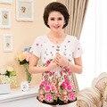 Nova moda de alta qualidade mulheres plus size mãe magro clothing verão de manga curta t-shirt senhora o-pescoço pulôver topo