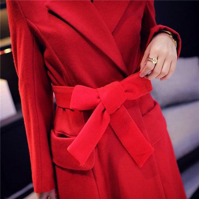 Red Woolen Coat 2018 Winter Coat Women Elegant Long Wool Jacket Women Manteau Femme Vogue Woolen Overcoat Parka Maxi Coats C3591 4