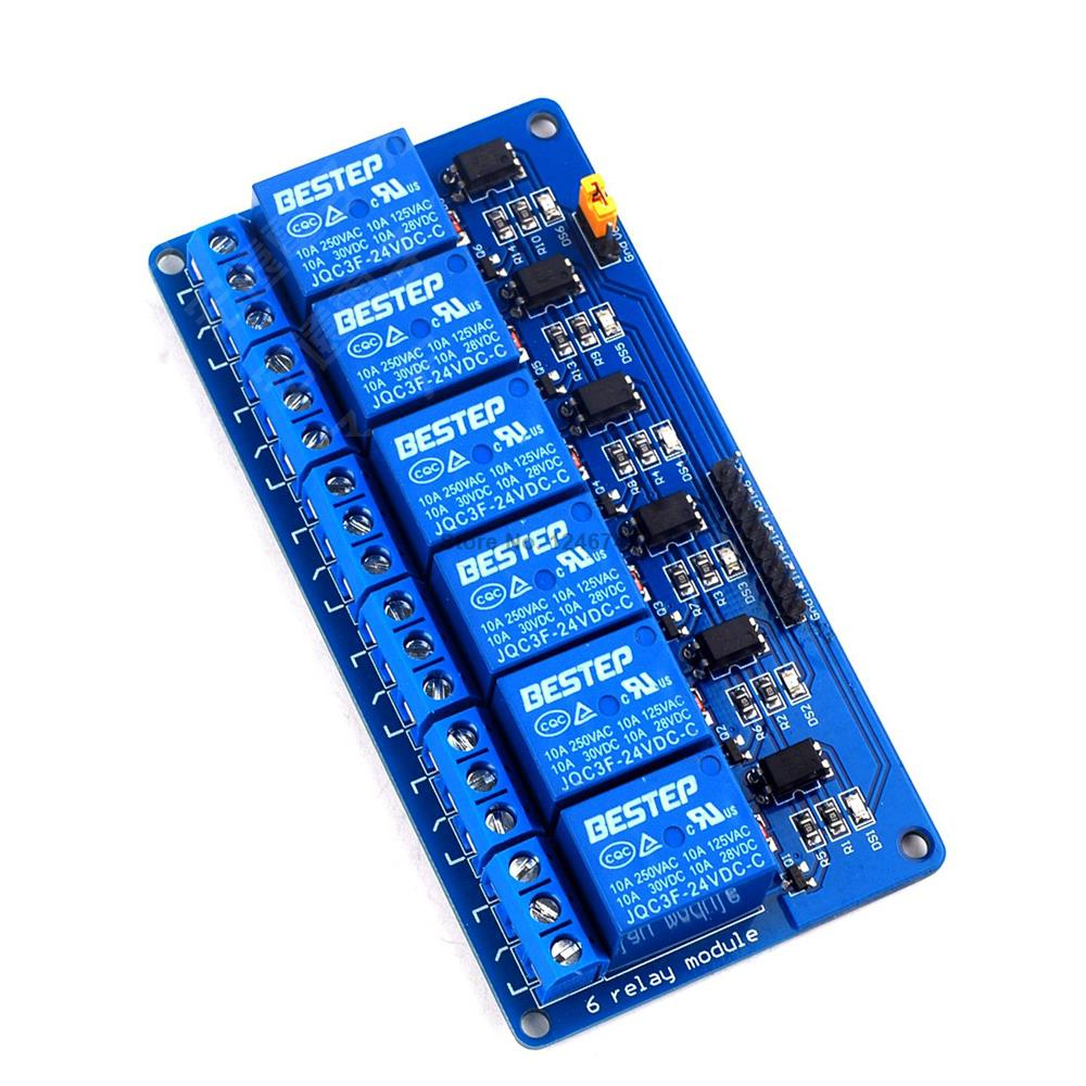 1PCS 24V 6Channel Relay Module For Arduino PIC ARM DSP AVR Hot Sale