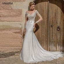 VNXIFM 2019-bridal-long-sleeves-v-neck-heavily-embellished-bodice-satin-skirt-elegant-sheath-wedding-dress-lace-button-mid-back embellished faux leather insert sheath dress