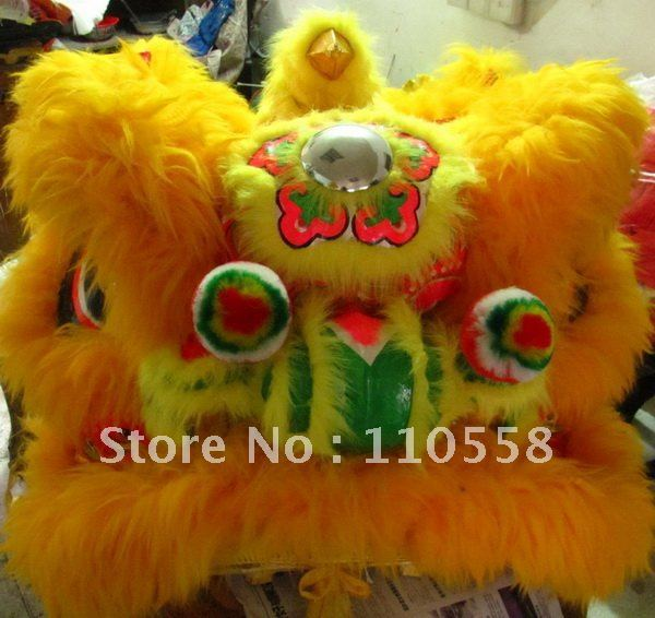South Lion Head with wool in Red/Yellow/Black/White Color for Chinese Lion Dance_Foshan Folk Art