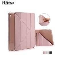 Pour ipad pro 9.7 smart case rose or pu en cuir magnétique réveil sommeil avec tpu transparent couverture arrière Alabasta