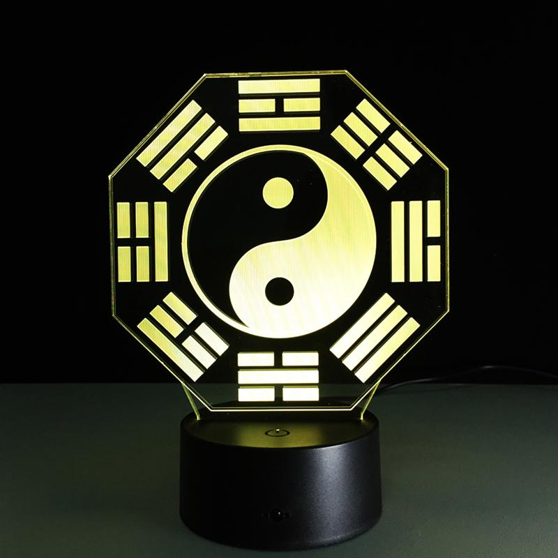 3D Lamp Visual Light Effect Touch Switch & Remote Control Colors Changes Night Light (Taoist Map)