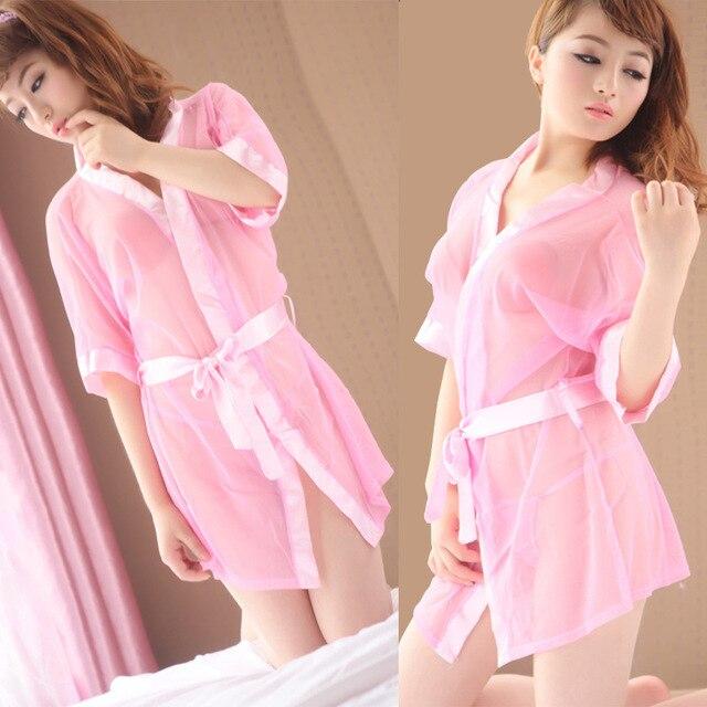 942c1af2aa4c Japanese Wholesale Bathrobe Womens Kimono Satin Robe Sexy Lingerie  Nightgown Sleepwear With Belt Sexy Pink Kimono Robes